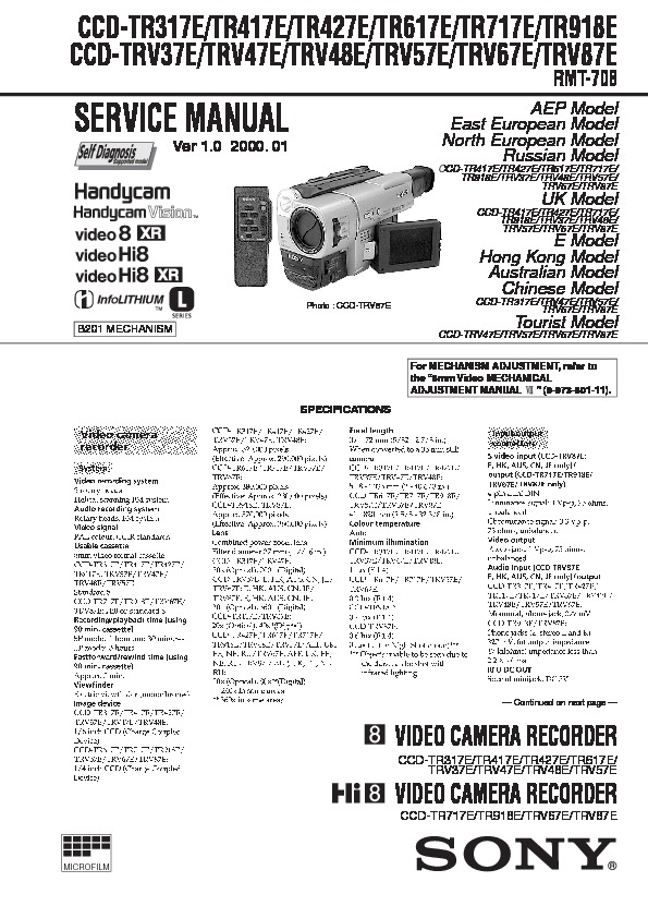 sony ccd-tr517 manual pdf