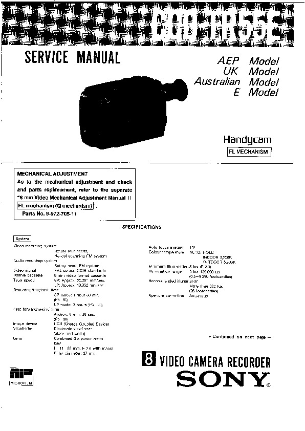 sony ccd-tr55e service manual