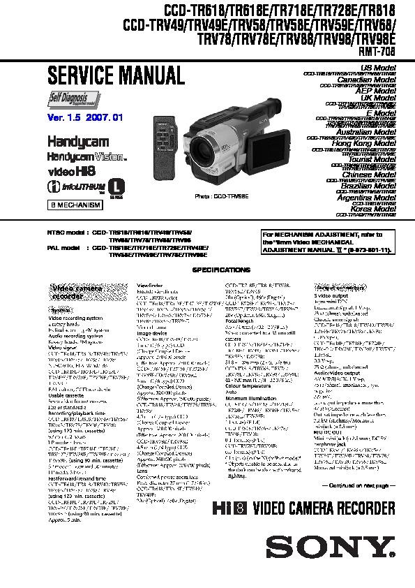 sony ccd tr618 ccd tr618e ccd tr718e ccd tr728e ccd tr818 ccd rh servicemanuals us sony handycam ccd-trv58 manual sony ccd-trv58 manual español