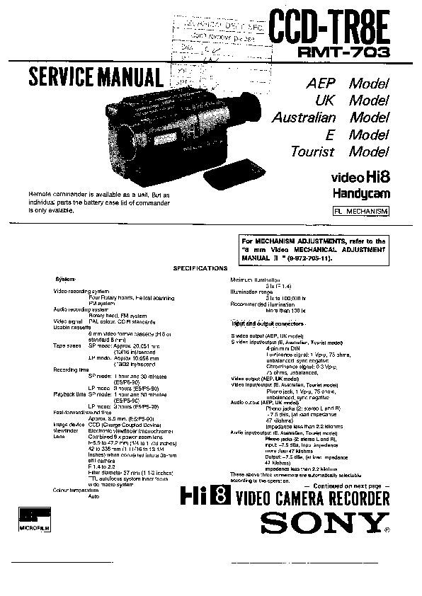 sony ccd-tr8e  serv man2  service manual