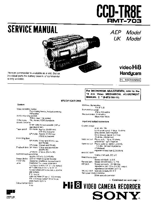 sony ccd-tr8e service manual