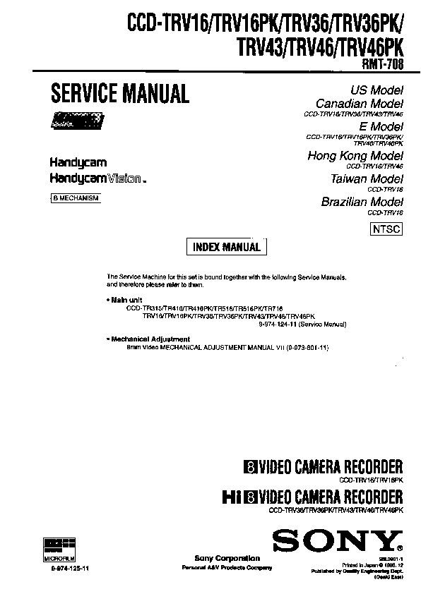 sony ccd trv16 ccd trv16pk ccd trv36 ccd trv36pk ccd trv43 ccd rh servicemanuals us Sony CCD Sensor sony ccd-trv16 ntsc manual