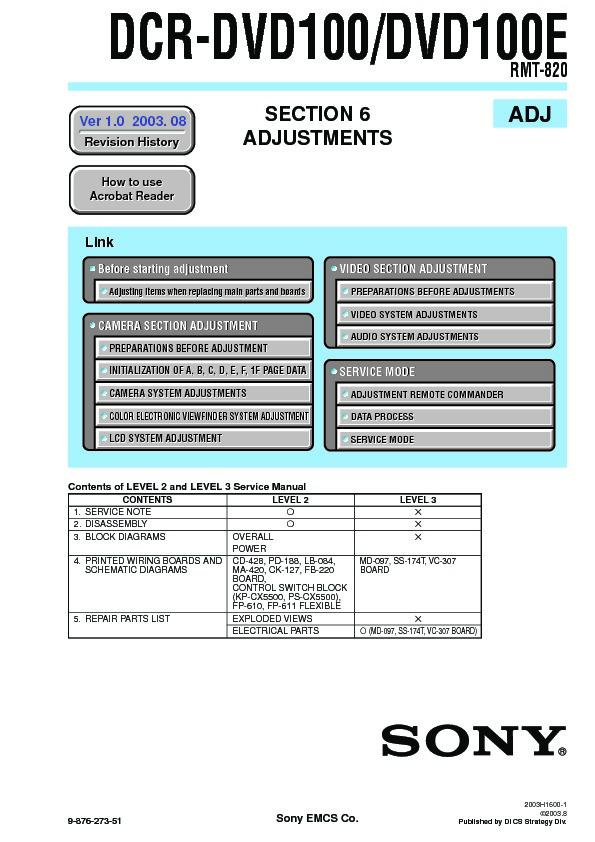 sony dcr-dvd100  dcr-dvd100e service manual