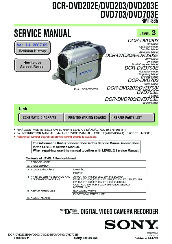 Sony DCR-DVD202E, DCR-DVD203, DCR-DVD203E, DCR-DVD703, DCR ...