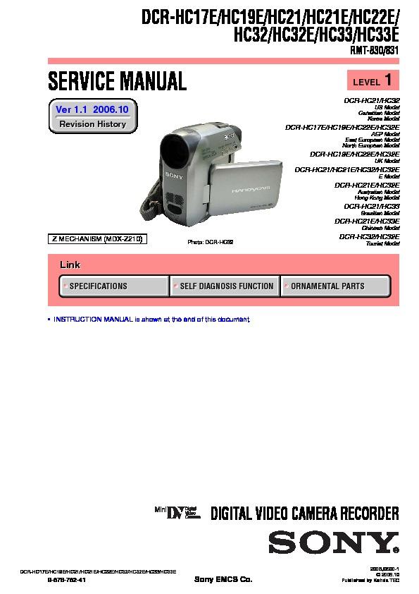 sony dcr hc17e dcr hc19e dcr hc21 dcr hc21e dcr hc22e dcr hc32 rh servicemanuals us sony dcr hc32 manual pdf sony dcr hc32 manual pdf