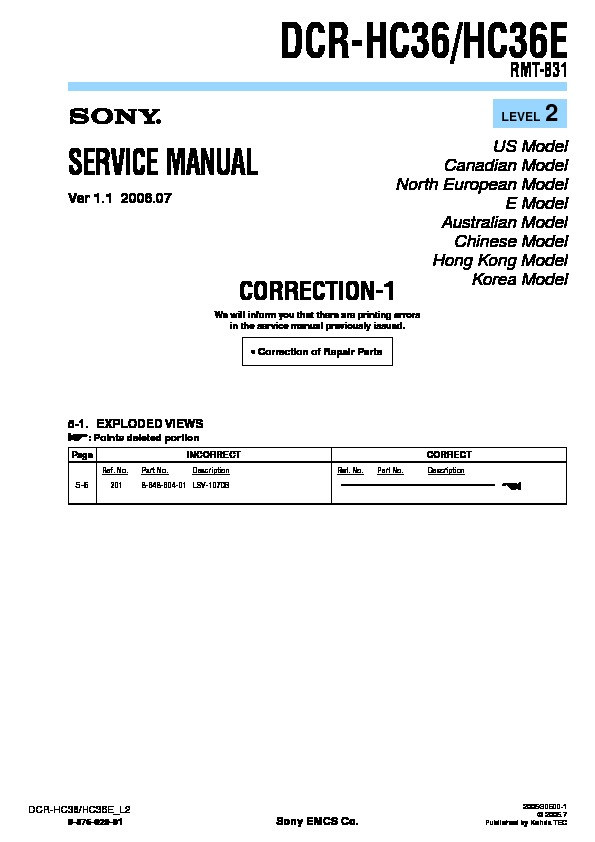 sony dcr hc36 dcr hc36e serv man11 service manual free download rh servicemanuals us User Manual PDF User Guide