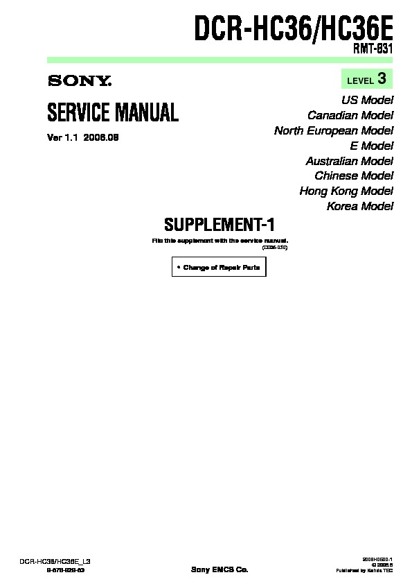sony dcr hc36 dcr hc36e serv man7 service manual free download rh servicemanuals us Owner's Manual Instruction Manual Book
