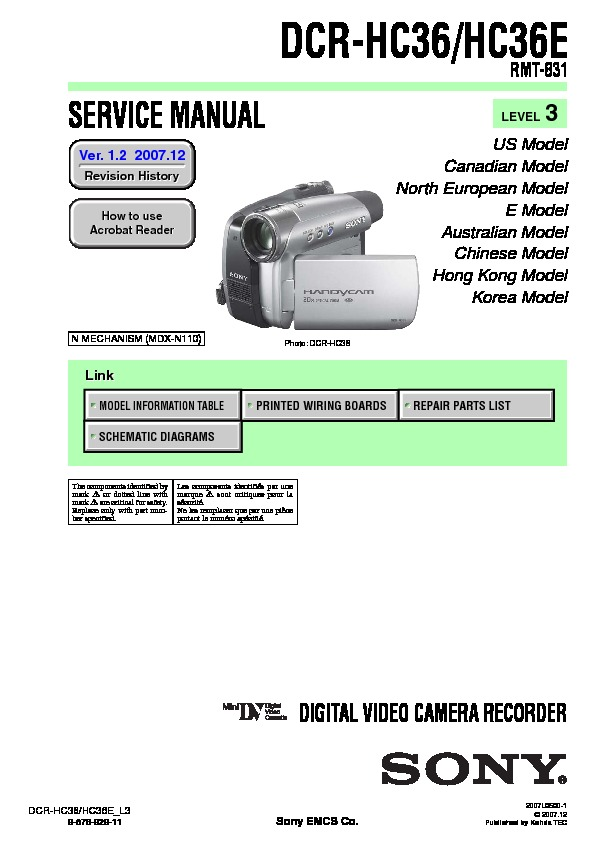 sony dcr hc36 dcr hc36e service manual free download rh servicemanuals us Manuals in PDF Instruction Manual Example