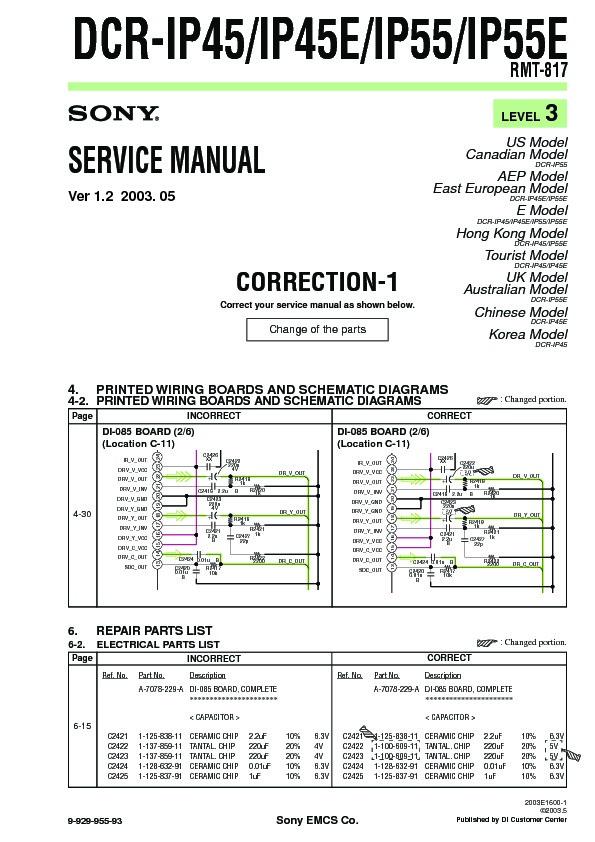 Sony DCR-IP45, DCR-IP45E, DCR-IP55, DCR-IP55E Service Manual - FREE ...