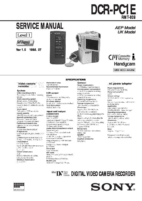 sony dcr-pc1e service manual