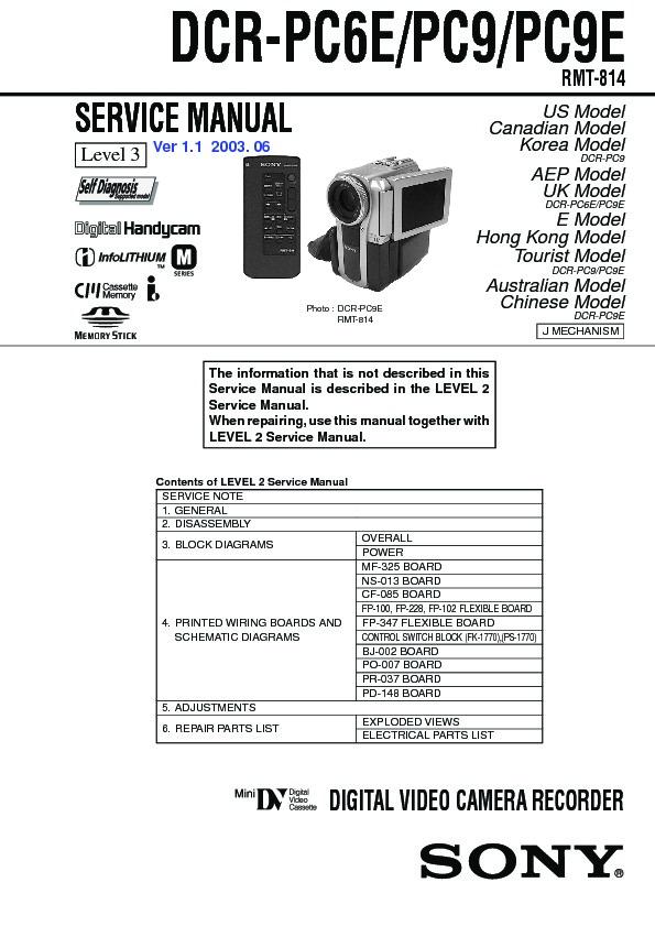 Sony DCR-PC6E, DCR-PC9, DCR-PC9E Service Manual - FREE DOWNLOAD