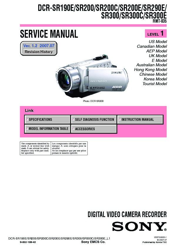 sony dcr sr190e dcr sr200 dcr sr200c dcr sr200e dcr sr290e dcr rh servicemanuals us Sony Handycam DCR DVD sony dcr-sr200 software