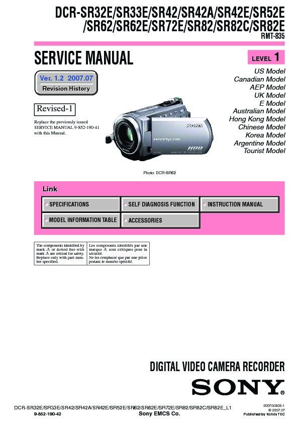 sony dcr sr32e dcr sr33e dcr sr42 dcr sr42a dcr sr42e dcr sr52e rh servicemanuals us sony handycam dcr-sr42 manual sony handycam hdd dcr-sr42 manual