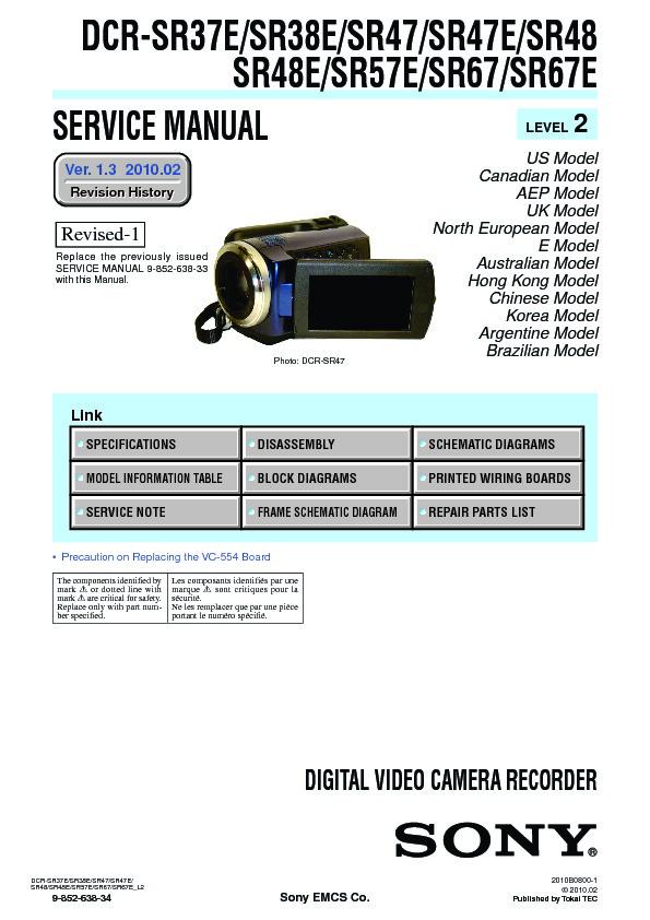 sony dcr sr37e dcr sr38e dcr sr47 dcr sr47e dcr sr48 dcr sr48e rh servicemanuals us Sony Dcr SR-47 Accessories Specs Sony Dcr SR-47