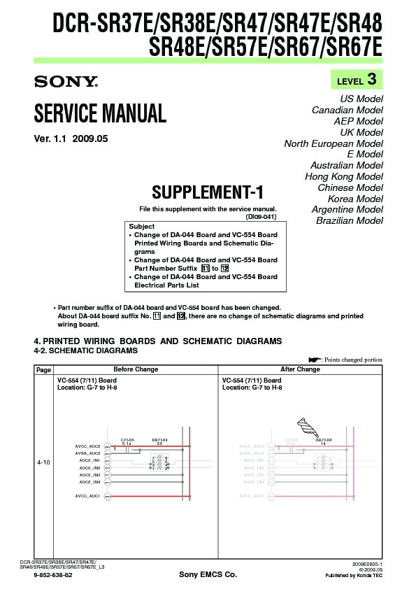 sony dcr sr37e dcr sr38e dcr sr47 dcr sr47e dcr sr48 dcr sr48e rh servicemanuals us Specs Sony Dcr SR-47 Sony Dcr SR-47 Manual