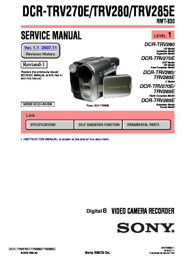 sony dcr trv270e  dcr trv280  dcr trv285e service manual sony dcr-trv280 manual pdf sony dcr trv280 manual