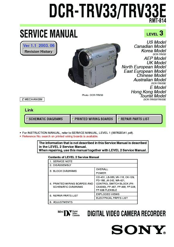 sony dcr trv33 dcr trv33e service manual free download rh servicemanuals us sony handycam dcr-trv33 manual sony dcr-trv33e manual pdf