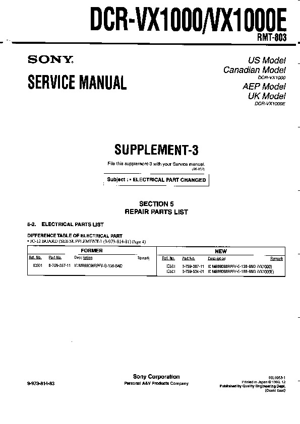 sony dcr vx1000 dcr vx1000e serv man3 service manual free download rh servicemanuals us LG VX1000 Phone yaesu vx 1000 service manual