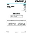Sony HDR-FX1, HDR-FX1E, Q002-HDR1 (serv.man2) Service Manual