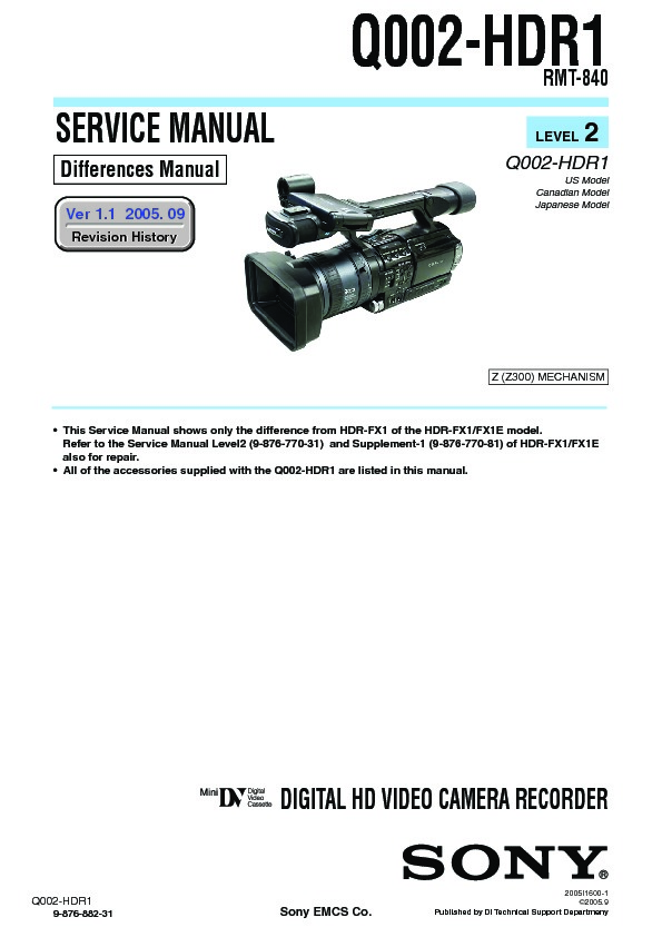 sony hdr-fx1  hdr-fx1e service manual