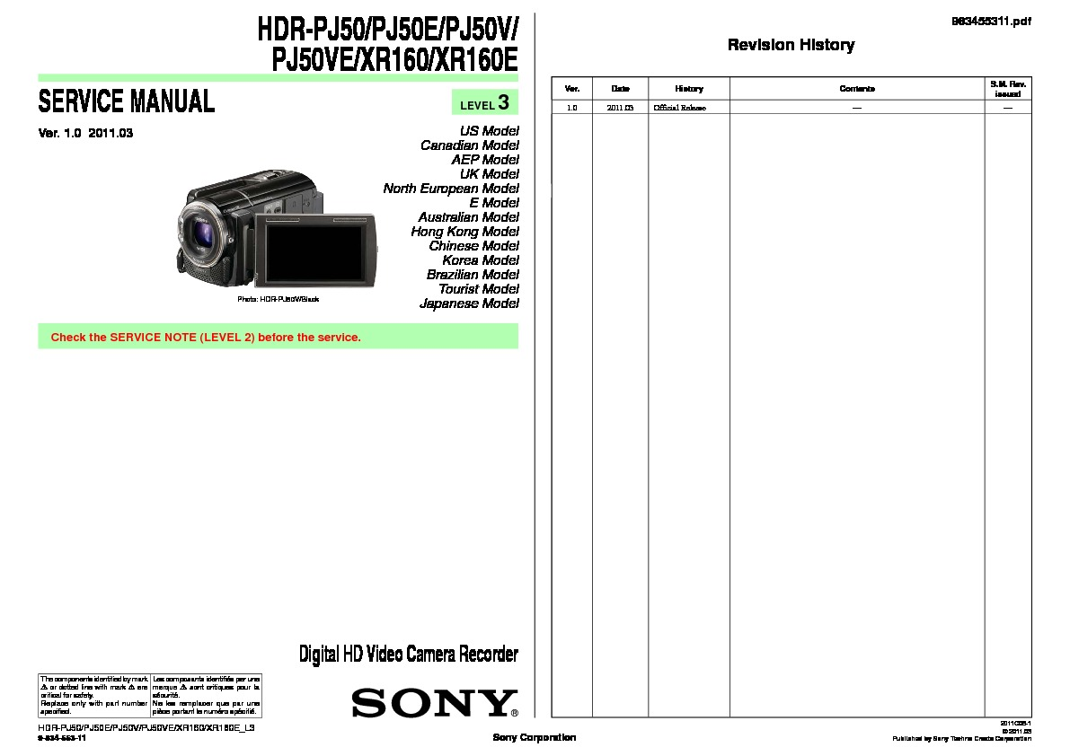sony hdr xr160 manual pdf