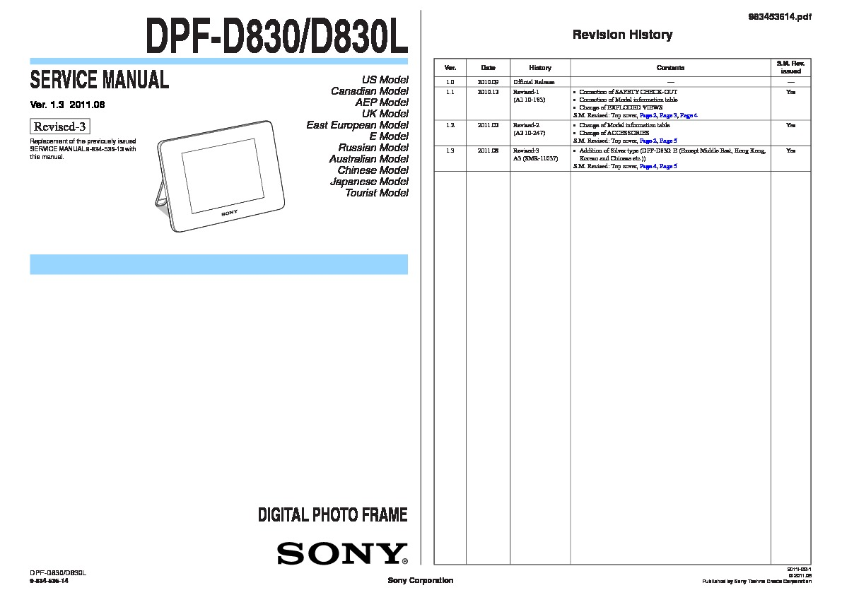 Sony S-Frame DPF-D830L