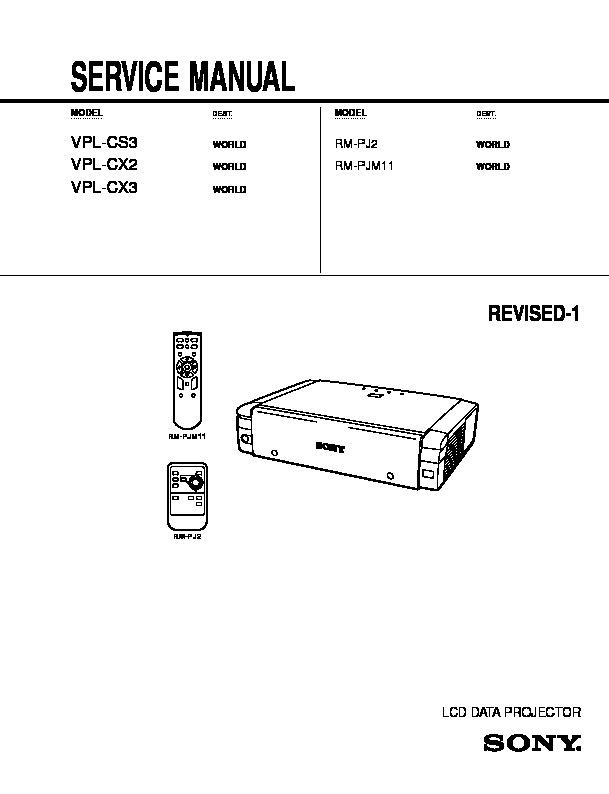 sony rm pj2 vpl cs7 vpl es2 service manual free download rh servicemanuals us vpl cs7 service manual proyector sony vpl-cs7 manual