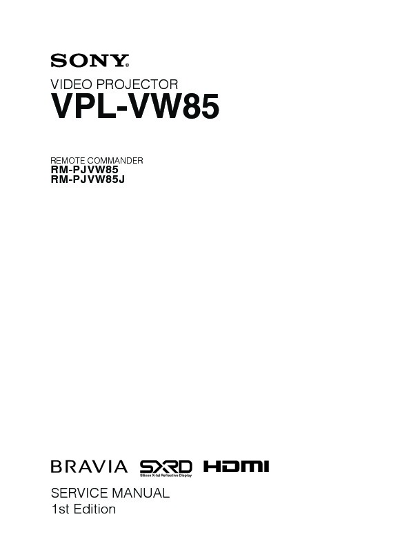 sony vpl vw85 service manual free download rh servicemanuals us sony data projector vpl-es5 service manual sony projector vpl dx100 service manual