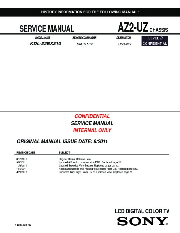 sony kdl 32bx310 service manual free download Sony Bravia TV Manual 42 Inch Sony BRAVIA Manual