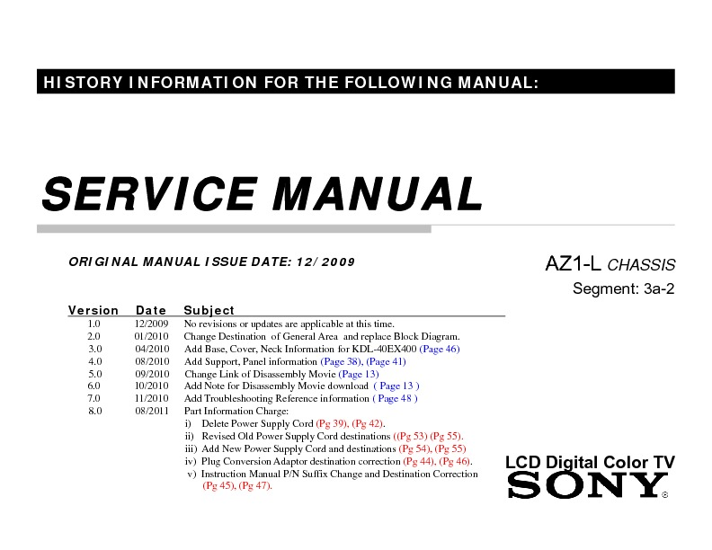 sony kdl 32ex400 kdl 40ex400 service manual free download rh servicemanuals us sony kdl 32ex400 service manual sony kdl-32ex400 specs