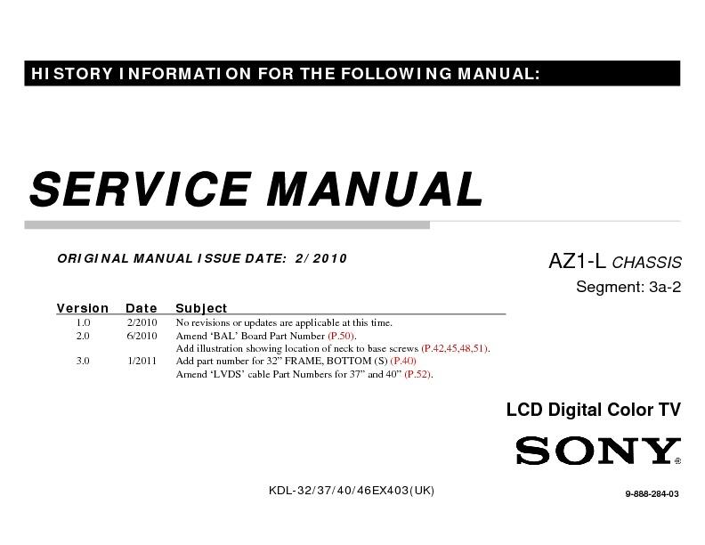 sony kdl 32ex403 kdl 37ex403 kdl 40ex403 kdl 46ex403 service rh servicemanuals us Sony KLV Sony KDL- 55W802A