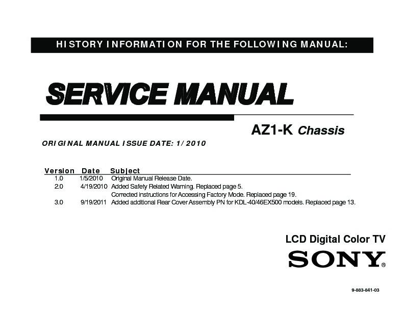 sony kdl 32ex500 kdl 40ex500 kdl 40ex501 kdl 46ex500 kdl 46ex501 rh servicemanuals us