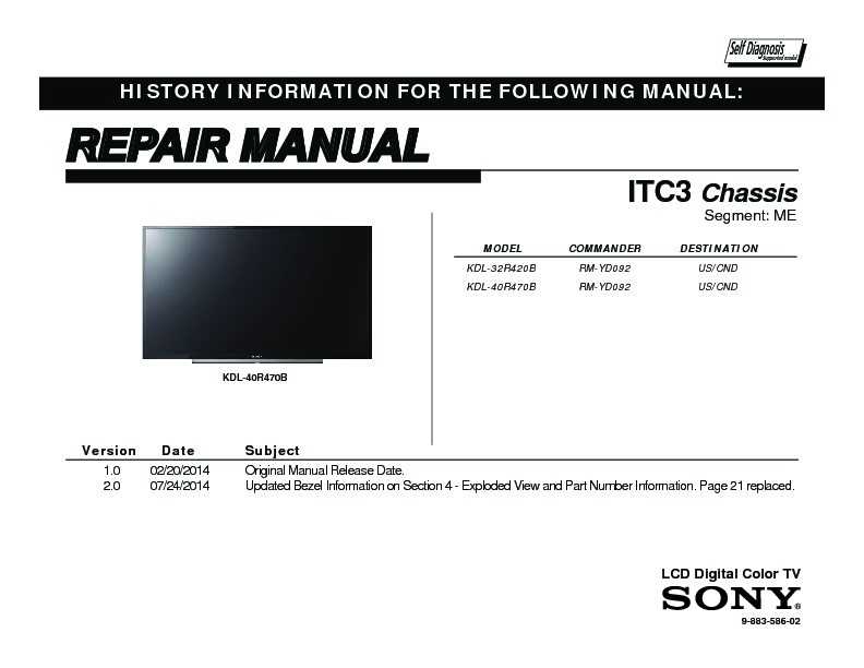 sony kdl 32r420b kdl 40r470b service manual free download rh servicemanuals us Sony BRAVIA 32 Inch HDTV Sony BRAVIA Back Panel