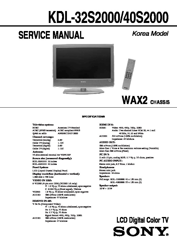 sony kdl 32s2000 kdl 40s2000 service manual free download rh servicemanuals us Sony KDL 40S2000 Manual Sony TV Replacement Parts