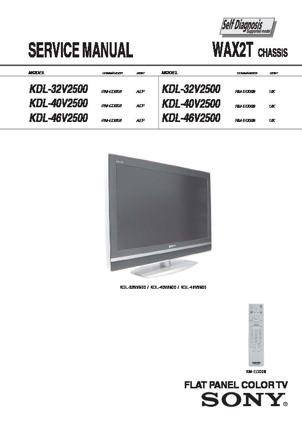 "sony kdl 32v2500 kdl 40v2500 kdl 46v2500 service manual free rh servicemanuals us Sony 52"" LCD Sony XBR 52"