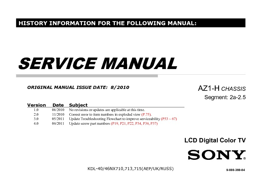 sony kdl 40nx710 kdl 46nx710 service manual free download rh servicemanuals us sony ps3 owners manual+pdf Sony Operating Manuals ICD-UX523 PDF