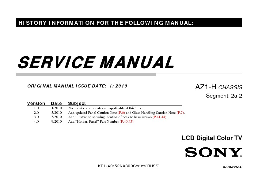 sony kdl 40nx800 kdl 52nx800 service manual free download rh servicemanuals us service manual sony bravia lcd tv service manual sony ta-f707es pdf