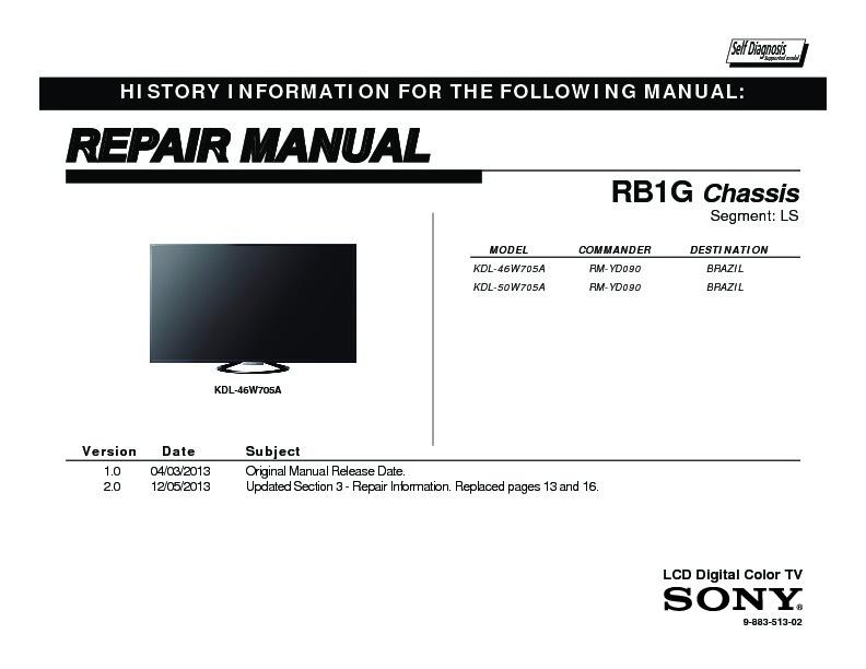 sony kdl 46w705a  kdl 50w705a service manual free download plasma tv repair manual pdf sony tv repair manual free