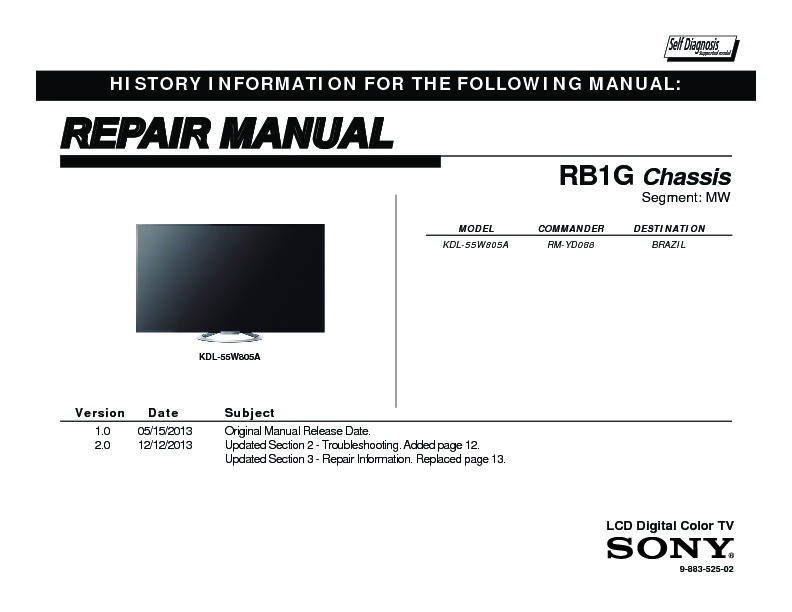sony kdl 55w805a service manual free download rh servicemanuals us Sony LCD Projection TV sony lcd digital color tv setup guide