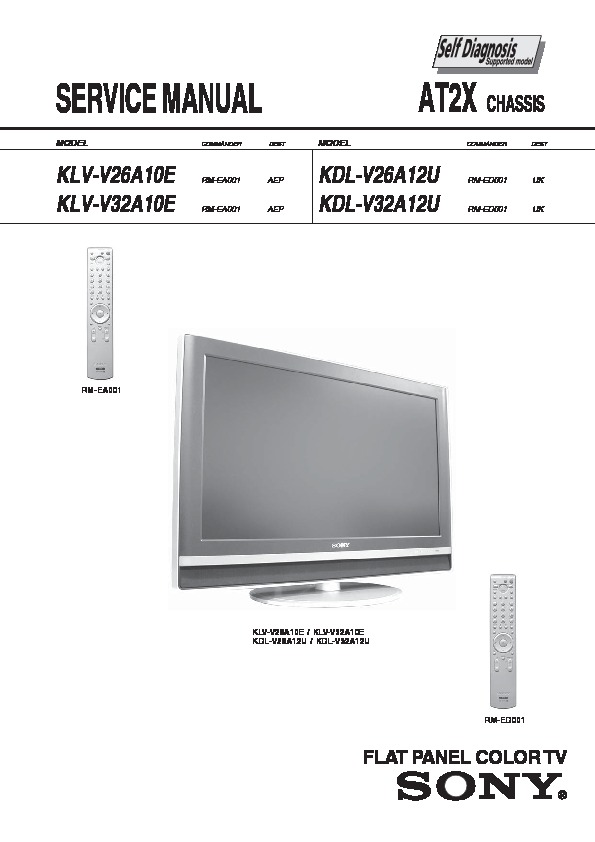 Sony Klv-v26a10  Klv-v32a10  Klv-v40a10 Service Manual