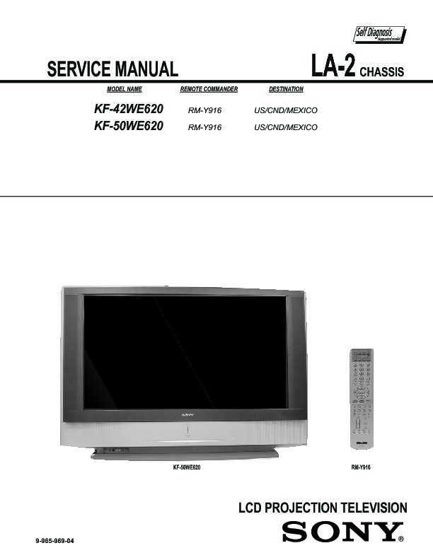 sony kf 42we620 kf 50we620 service manual free download rh servicemanuals us Old Sony Projection TV Sony Projection TV Problems