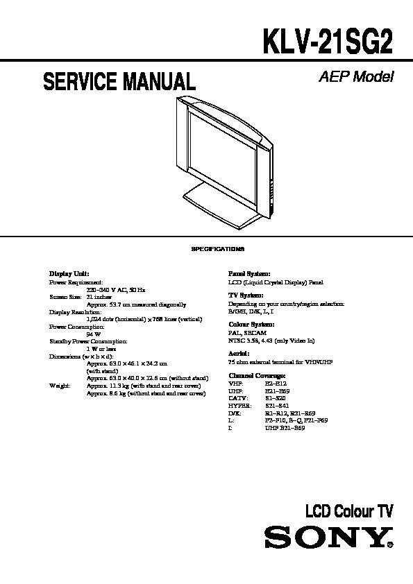 Sony Klv-21sg2 Service Manual