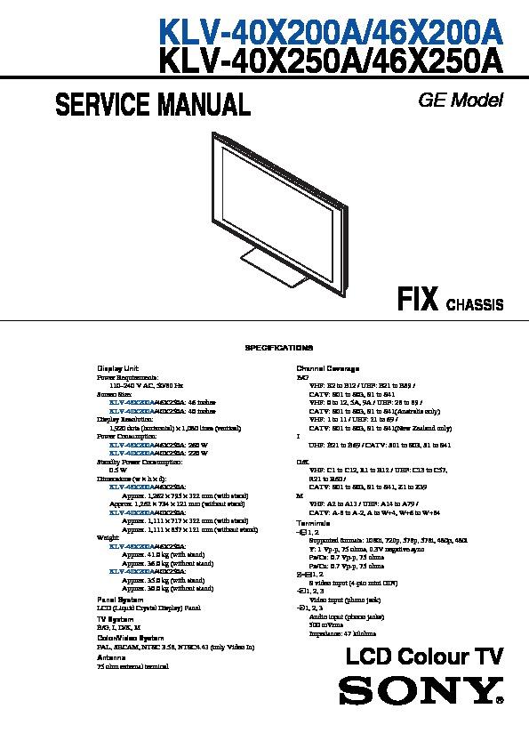 sony klv-40x200a  klv-46x200a service manual