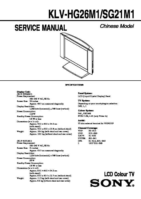 Klv l32m1 service Manual