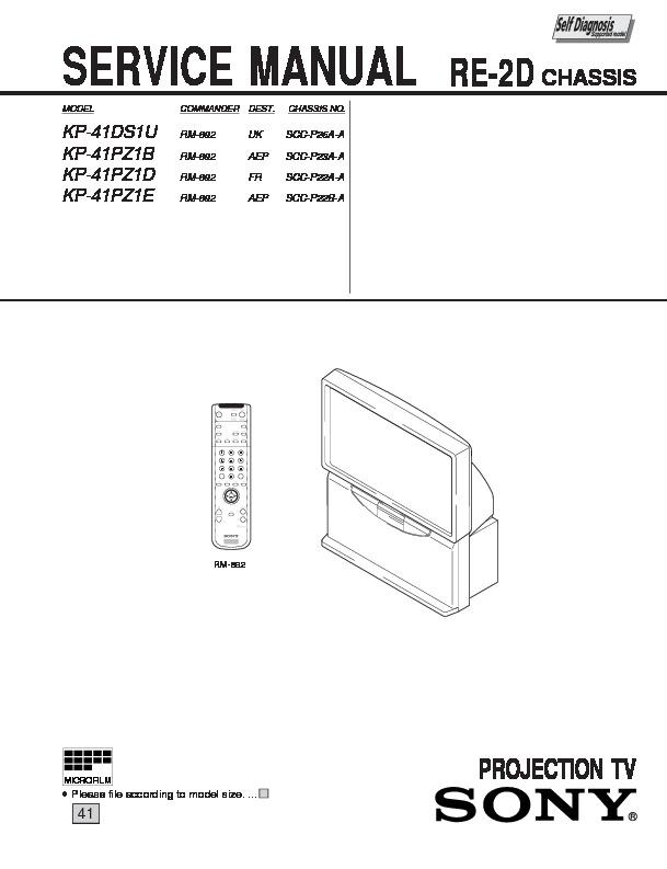sony kp 41ds1u kp 41pz1b kp 41pz1d kp 41pz1e service manual rh servicemanuals us Hitachi Projection TV Mitsubishi Projection TV