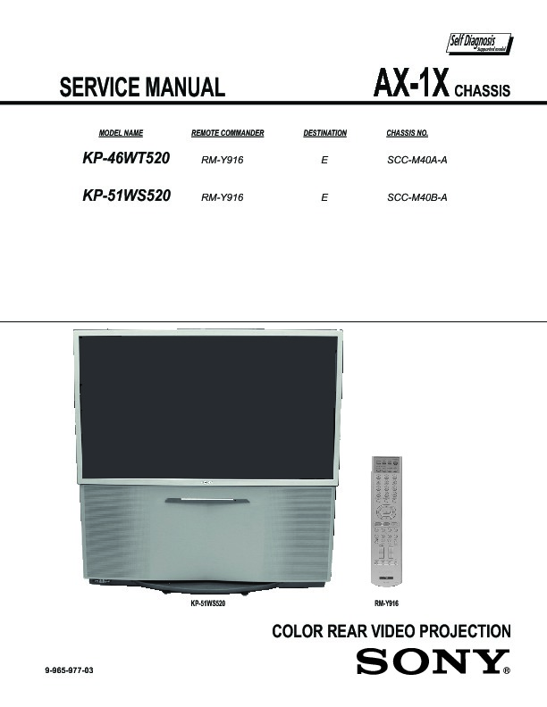 sony kp 46wt520 kp 51ws520 service manual free download rh servicemanuals us sony kp-46wt520 service manual Maintenance Manual
