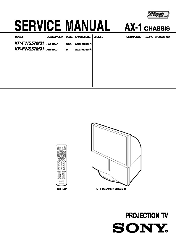 sony kp fws57m31 kp fws57m91 service manual free download rh servicemanuals us Sony Rear Projection TV Problems Sony BRAVIA Projection TV