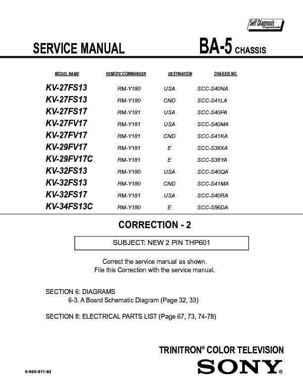 sony kv 27fs13 serv man3 service manual free download rh servicemanuals us Sony TV Repair Manual Sony TV Repair Manual