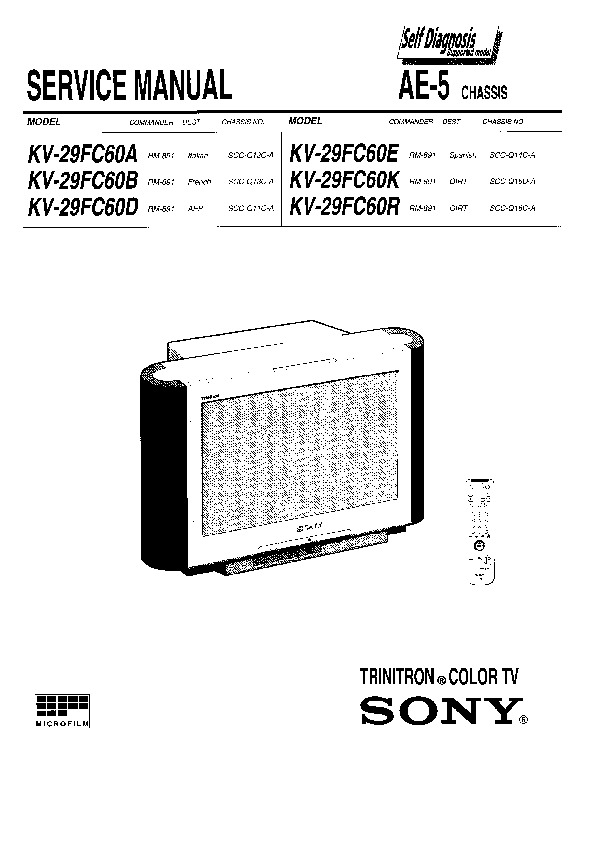 sony kv-29fc60a service manual