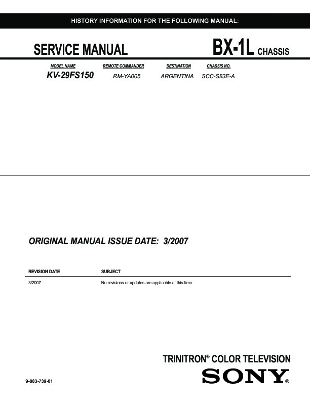 sony kv 29fs150 service manual free download Sony Trinitron XBR TV Manual Sony Trinitron TV Manual
